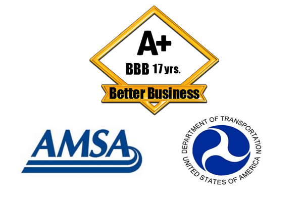 Proud members of the Better Business Bureau, AMSA, and the DOT.